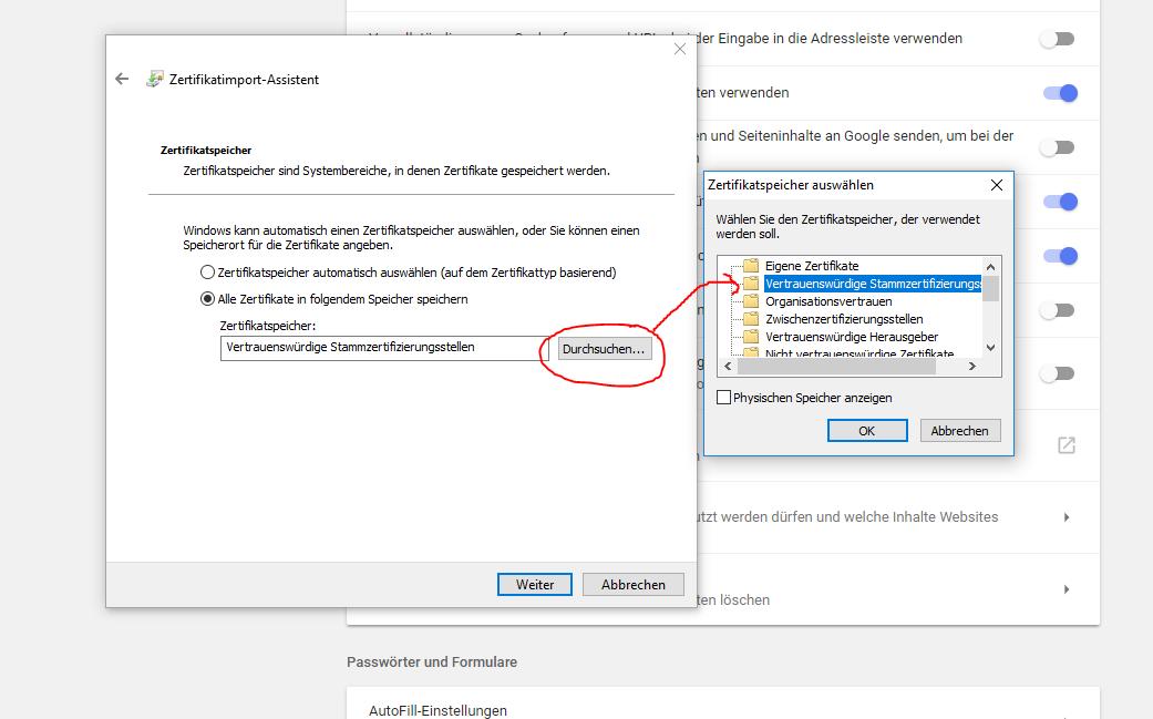 google-chrome - Chrome erhält ein selbstsigniertes Localhost-Zertifikat